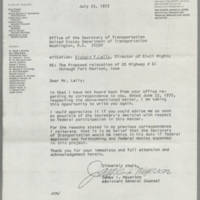 1972-07-25 James I. Meyerson to the Office of the Secretary of Transportation