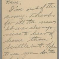 1945-11-10 Harry Macon to Dave Elder Postcard