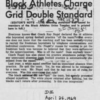 "1969-04-24 Daily Iowan Article: ""Black Athletes Charge Grid Double Standard"""