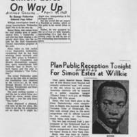 "1968-04-18 """"Simon Estes On Way Up"""" 1966-08-25 """"Plan Public Receptiom Tonight For Simon Estes at Willkie"""""