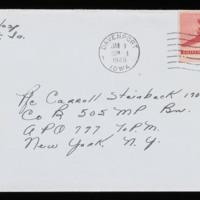1946-01-08 Evelyn Burton to Carroll Steinbeck - Envelope