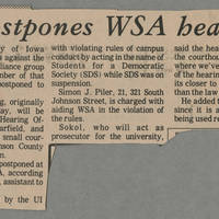 1972-04-07 Article: 'UI postpones WSA hearing' page 1