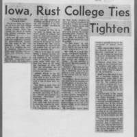 "1966-04-01 Daily Iowan Article: """"Iowa, Rust College Ties Tighten"""""