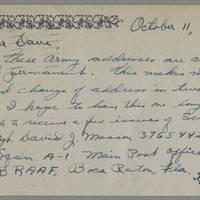 1945-10-11 Sgt. David J. Masson to Dave Elder Postcard