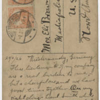 1920-02-29 Postcard: Robert M. Browning to Mrs. Eli Browning - Back