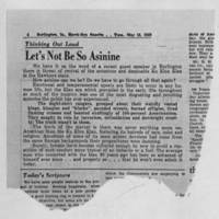 "1953-05-19 Burlington Hawkeye Gazette Article: ""Let's Not Be So Asinine"""