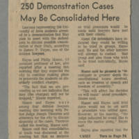 "Article: """"250 Demonstration Cases May Be Consolidated Here"""" Page 1"