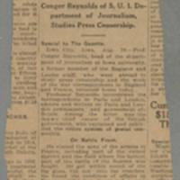 "1916-08-29 Cedar Rapids Evening Gazette Clipping: """"Iowa Man Returns From War Zone"""" Page 1"