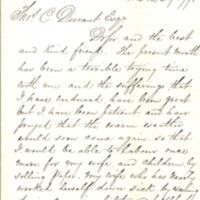 Correspondence from William F. Chambers to Thomas Clark Durant requesting financial assistance, March 29, 1871, Brooklyn, New York