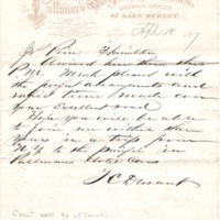 Thomas C. Durant letter to Joseph Price, Hamilton, Ont., April 18, 1867