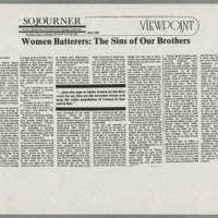 "Sojourner Article: """"Women Batterers: The Sins of Our Brothers"""""