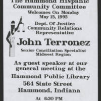 1995-05-15 John Terronez Speaking engagement in Hammond, Indiana