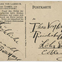 Postcard: Robert M. Browning to Theo Von Olfen - Back