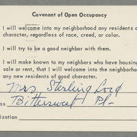 1964-04-10 Postcard: Covenant of Occupancy: Mrs. Sterling Lord