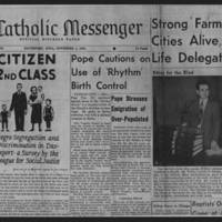 "1951-11-01 The Catholic Messenger Article: ""Citizen 2nd Class"" Page 1"