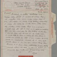1943-03-12 Lloyd Davis to Laura Davis Page 1