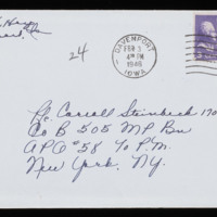 1946-01-30 Evelyn Burton to Carroll Steinbeck - Envelope