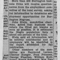 "1950-05-08 Burlington Hawkeye Gazette Article: ""Ask Firm for Self Survey Data"""