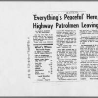 "1971-05-15 Iowa City Press-Citizen Article: """"'Everything's Peaceful' Here, Highway Patrolmen Leaving"""" Page 1"