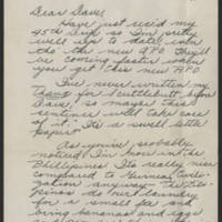 1945-02-25 Cpl. Darwin Vacha to Dave Elder Page 1
