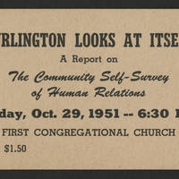 "1951-10-29 Ticket to ""Burlington Looks At Itself; The Community Self-Survey Of Human Relations"""