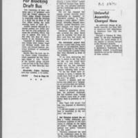 "1971-05-08 Iowa City Press-Citizen Articles: """"Three Fined For Blocking Draft Bus"""" """"Unlawful Assembly Charged Here"""""