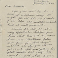 1942-01-11 Letter to Laura Frances Davis Page 1