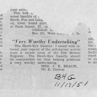 "1951-11-17 Burlington Hawkeye Gazette Letter: ""Very Worthy Undertaking"""