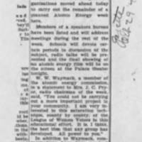"1947-10-29 Burlington Hawk-eye Gazette: """"Atomic Talks During Week"""""