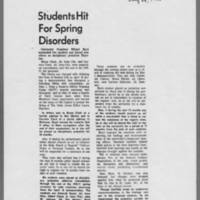 "1970-07-24 Daily Iowan Article: """"Students Hit For Spring Disorders"""""