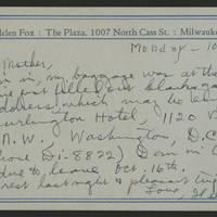 Helen Fox Angell letters to Bess Peebles Fox, October-December 1943