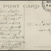 1917-09-30 Harvey Wertz to Miss Dorothy Wertz Postcard back
