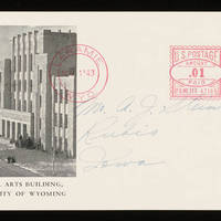 Card to Alfred and Vira Steinbeck from the University of Wyoming - Back