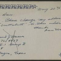 1945-05-20 Sgt. David J Masson to Dave Elder Postcard