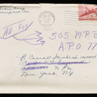 1945-12-18 Evelyn Burton to Carroll Steinbeck - Christmas Card Envelope