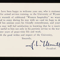 Card to Alfred and Vira Steinbeck from the University of Wyoming