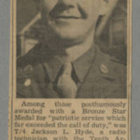 "Clipping: ""Jackson Hyde's Widow Gets His Bronze Star"""