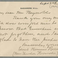1919-09-02 Edith Kermit Roosevelt to Mr. Conger Reynolds Page 1