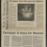 """1996-07-27 Nuestras Voces Article: """"""""Terronez: Una Voz para las Mujeres"""""""" (""""""""Terronez: A Voice for Women"""""""")"""