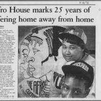 "1993-03-16 Iowa City Press-Citizen Article: ""Afro House marks 25 years of offering home away from home"" Page 1"