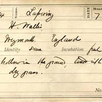 H Wallis, egg card # hw001