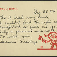 Burton J Smith greeting card, December 25, 1941