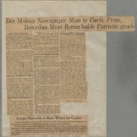 """1916-07-01 Des Moines Capital Clipping: """"""""Des Moines Newspaper Man in From Paris, France, Describes Most Remarkable Patriotic Parade"""""""""""