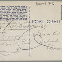 1945-09-30 Pfc. S.J. Hernandez to Dave Elder Postcard - back