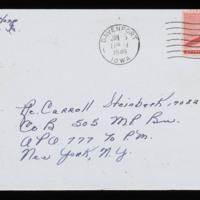 1946-01-22 Evelyn Burton to Carroll Steinbeck - Envelope