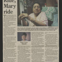 "2002-08-15 Article: """"Ride, Mary ride"""" Quad City Times"