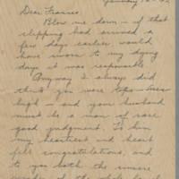 1942-01-12 Freda Crippen to Laura Frances Davis Page 1