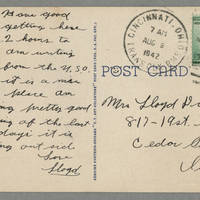 1942-08-09 Postcard Lloyd Davis to Laura Davis - back