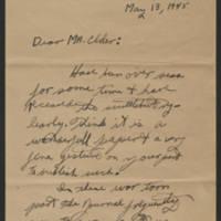 1945-05-13 R.K. Ward to Dave Elder Page 1