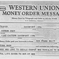 1970-10-29: Money Order, Rev. Frank Whitt to Mrs Vernon Oney